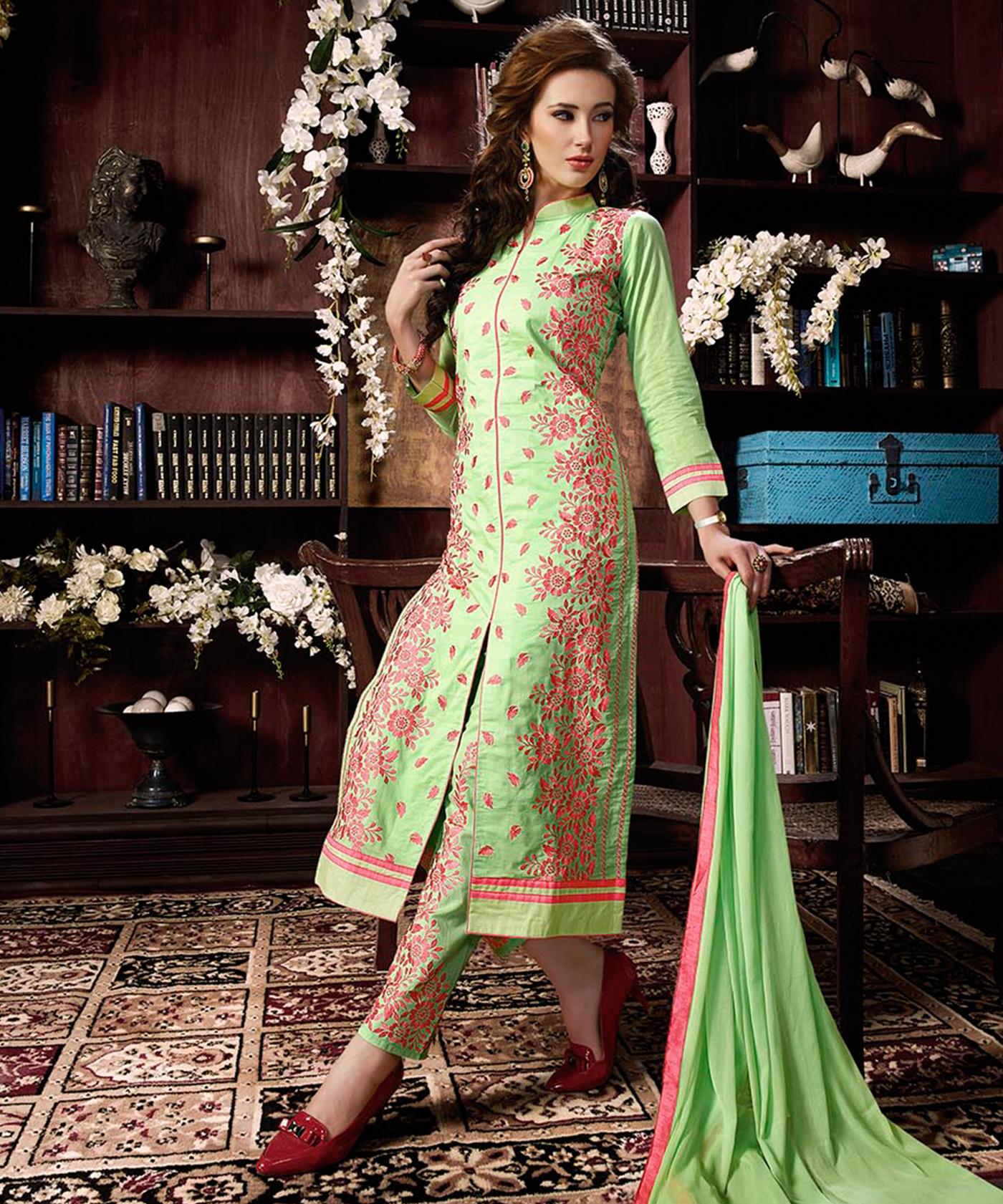 2f4422d14fb Green Cotton Straight Semi Stitched Salwar Kameez - Online Shopping India  ...