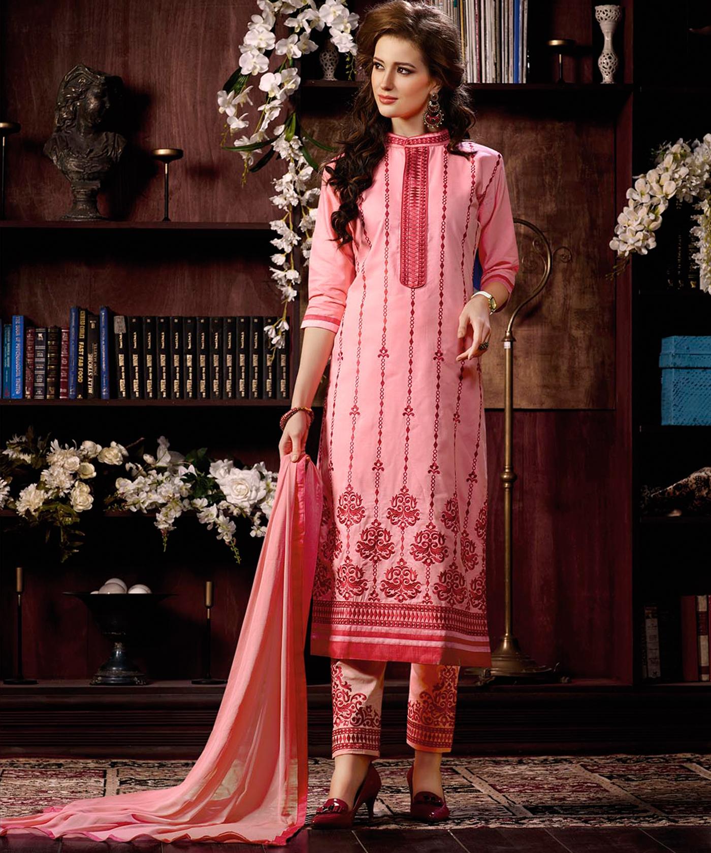 28c126c2683 ... Pink Cotton Straight Semi Stitched Salwar Kameez - Online Shopping India  ...