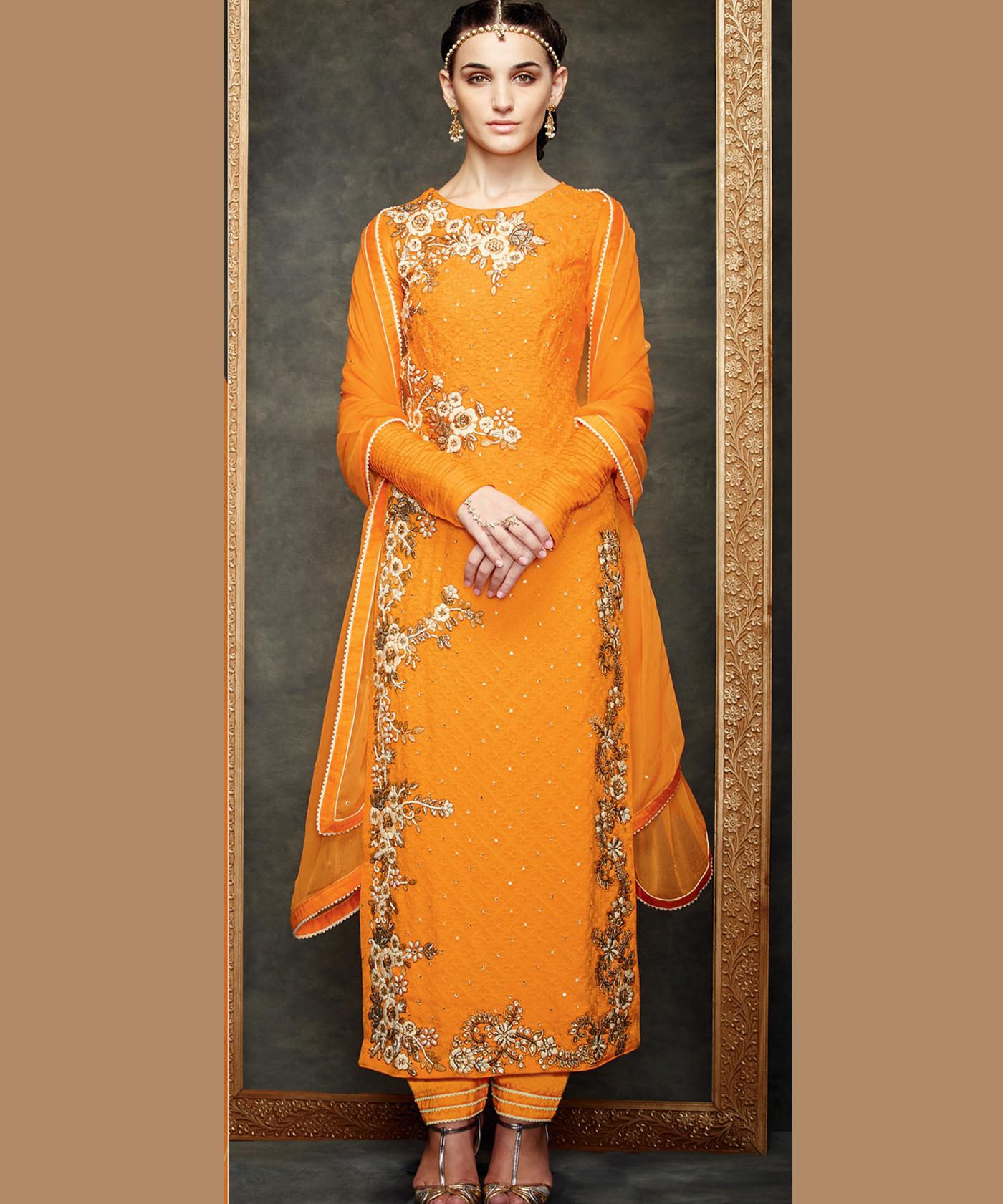d8e20f611f28 ... Meera Bright Orange Embroidered Semi Stitched Dress - Online Shopping  India ...