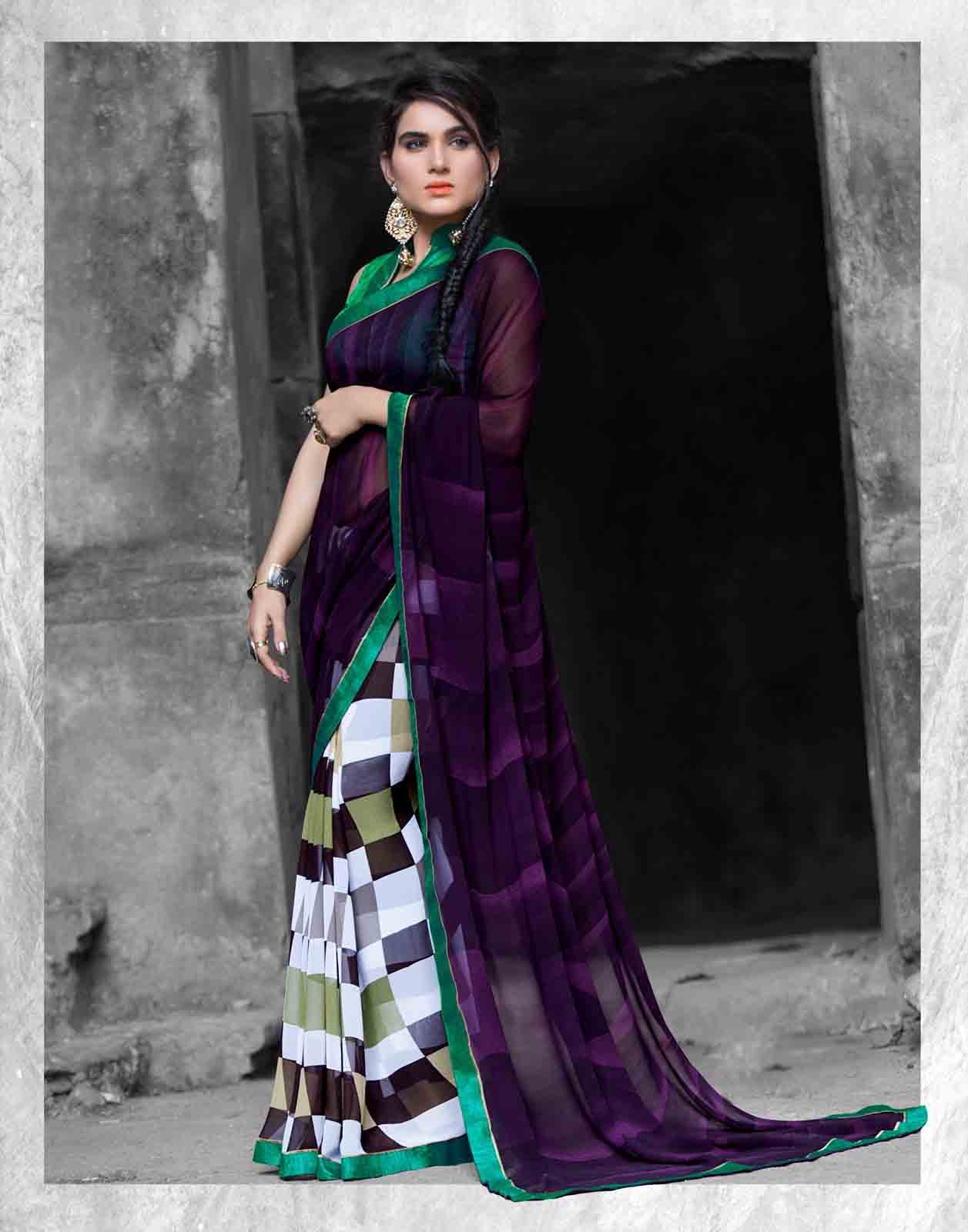 fd1300991 Designer Multicolor Printed Georgette Saree - Online Shopping India ...