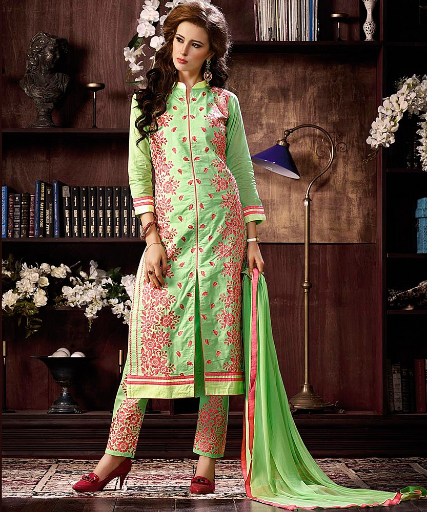 79d6f69a469 Online Shopping India - Green Cotton Straight Semi Stitched Salwar Kameez
