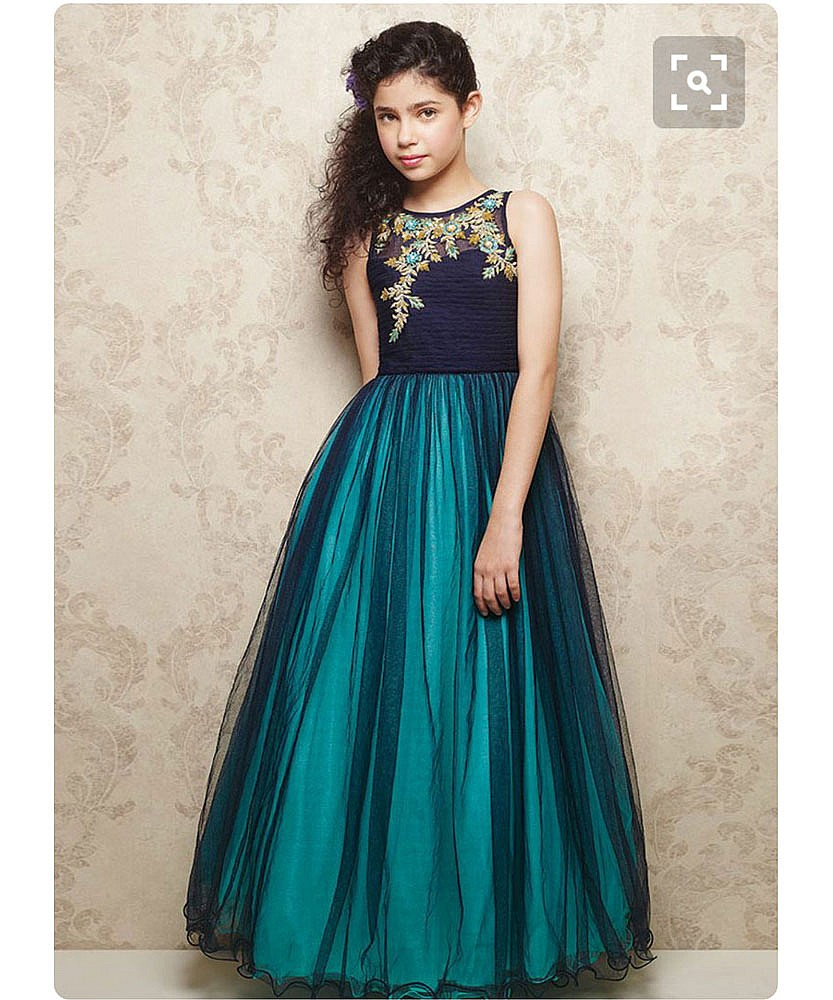 Online Shopping India - Designer Teal gown Featuring in zari embroidery