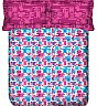 OSI ED Color Blotch  A  Pink & Blue Double Bed Sheet with 2 Pillow Covers - Online Shopping India