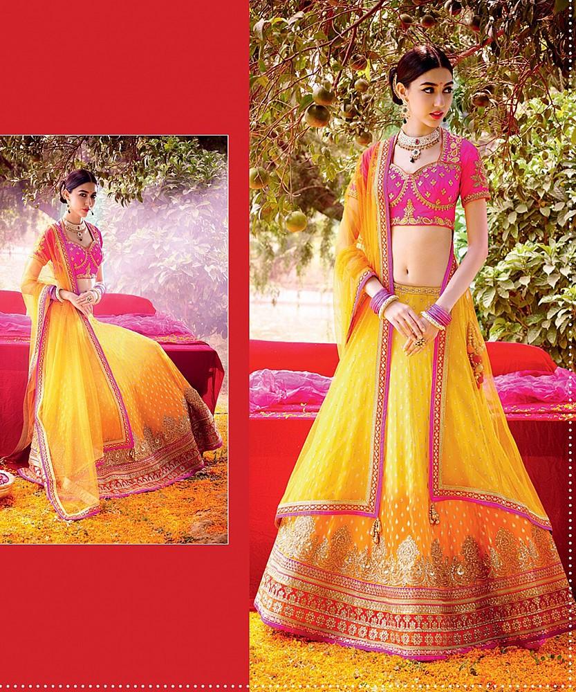 83f4e68681 Online Shopping India - Mango Yellow Lehenga Choli