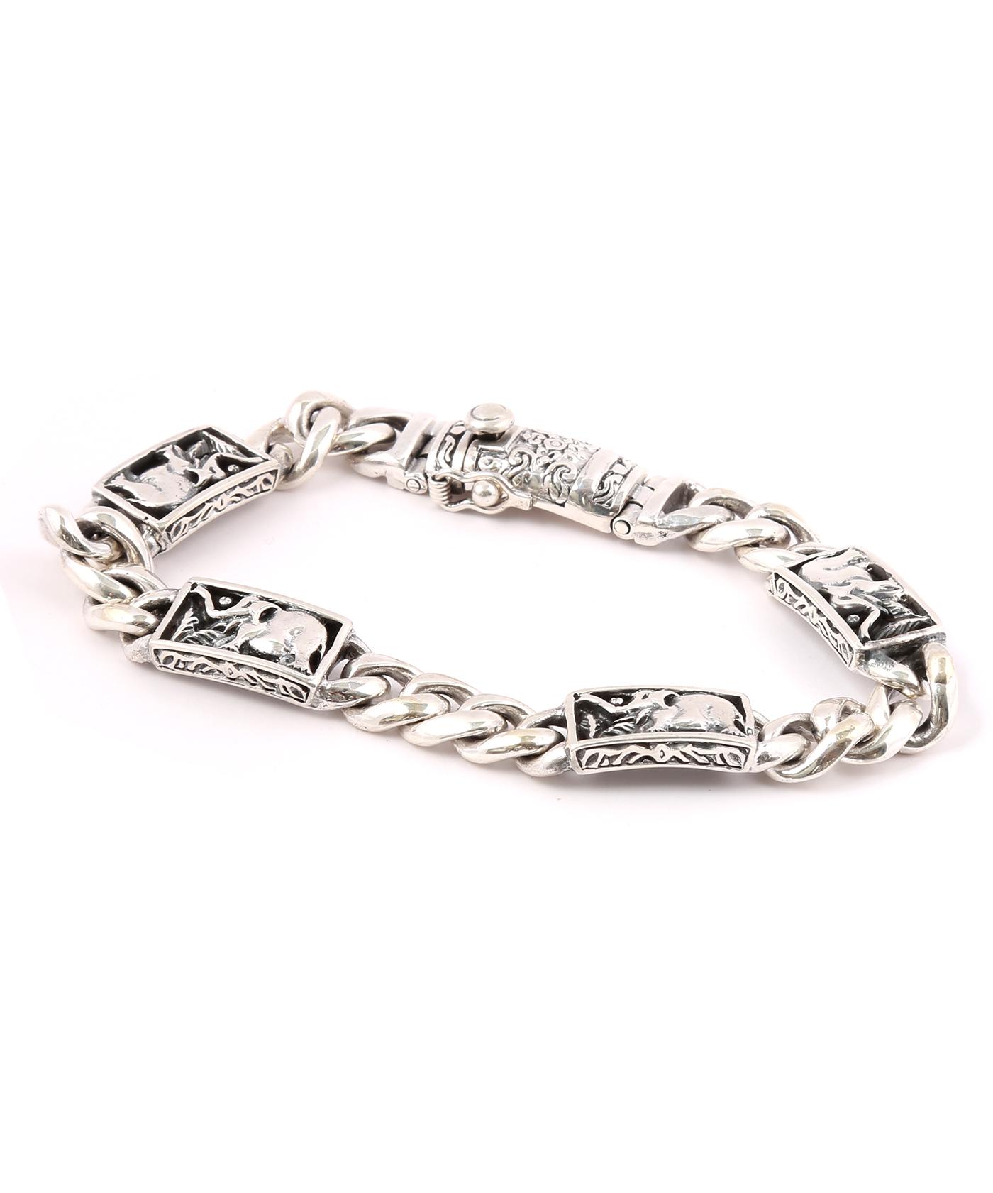 92 5 Sterling Silver Elephant Design Bracelet For Men Online Ping India
