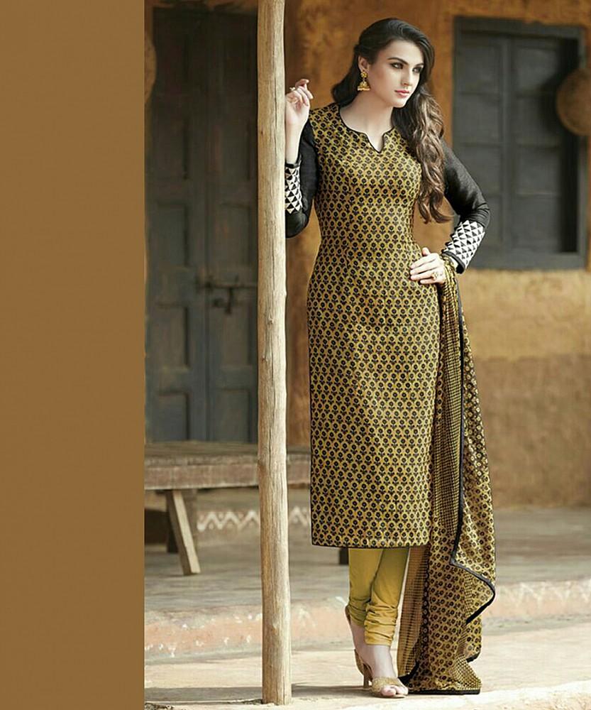 783dcc4bbbc Online Shopping India - Bhagalpuri Silk Yellow Semi Stitched Dress